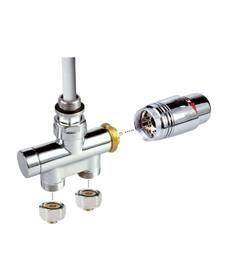 Adhoc Eenpuntsventiel recht chroom thermostatisch